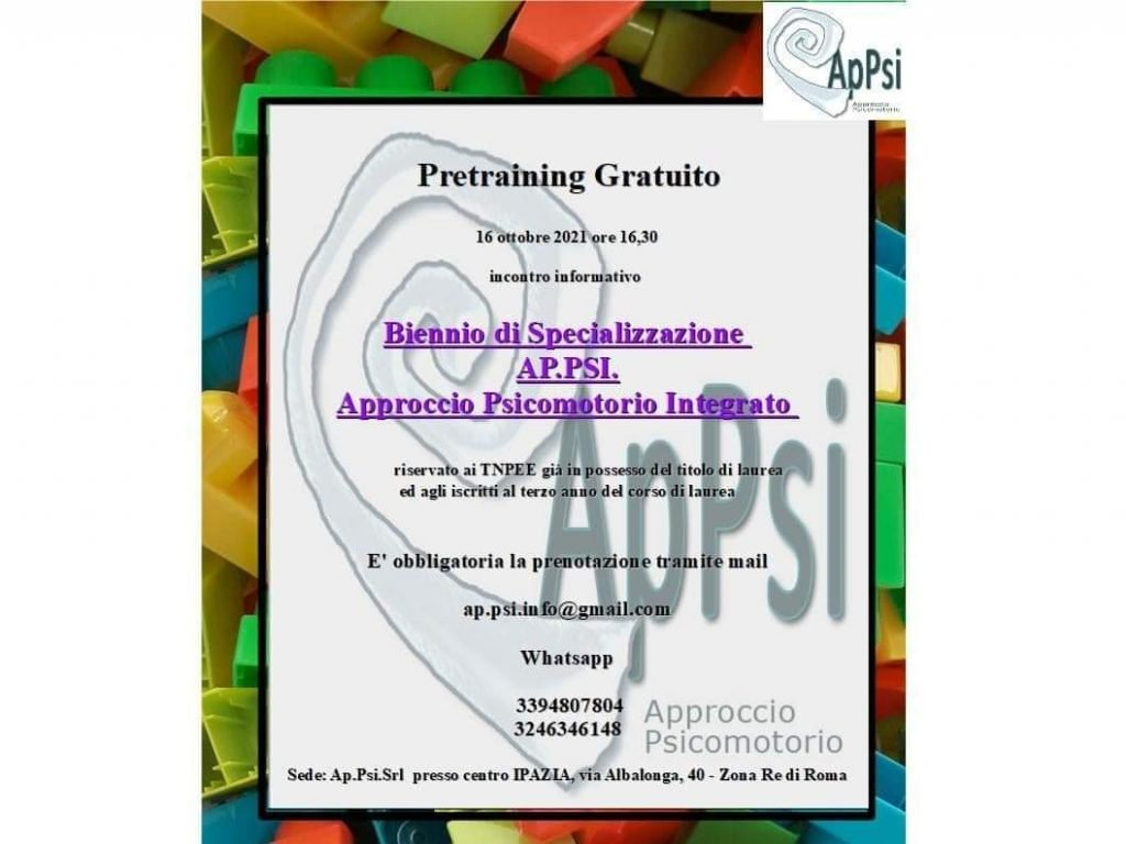 """Pretraining Grauito """"Approccio Psicomotorio Integrato"""" @ Centro Ipazia"""